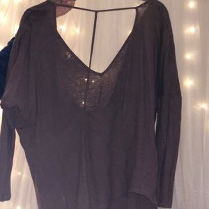 Open back long sleeve taupe top